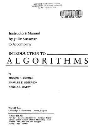 Instructor s Manual to Accompany Introduction to Algorithms PDF