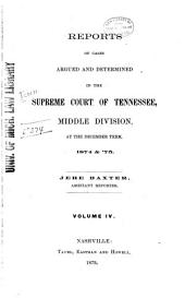 Reports of Cases Argued and Determined in the Supreme Court of Tennessee: Volume 63
