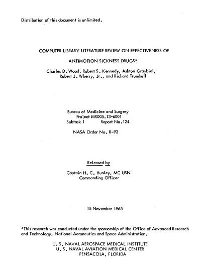 Computer Library Literature Review on Effectiveness of Antimotion Sickness Drugs PDF