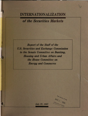 Internationalization of the Securities Markets