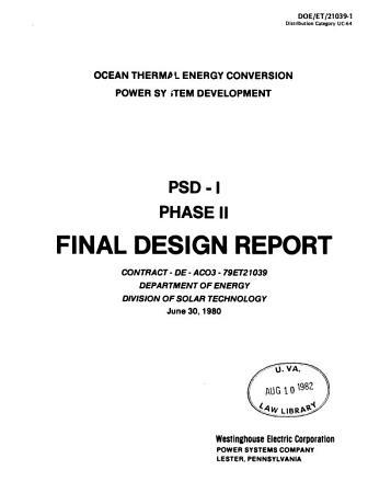 Ocean Thermal Energy Conversion Power System Development PDF