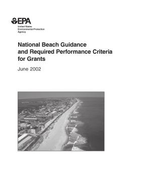 National beach guidance and required performance criteria for grants