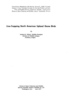 Live trapping North American Upland Game Birds