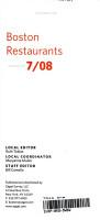 Zagat Boston Restaurants PDF