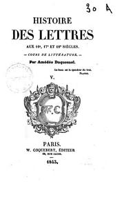 Histoire Des Lettres