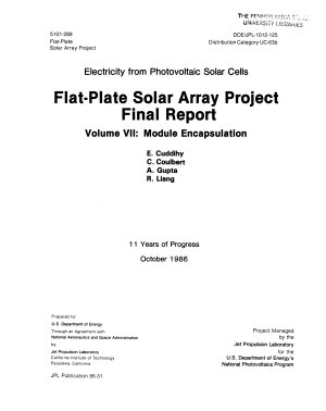 Electricity from Photovoltaic Solar Cells: Module encapsulation