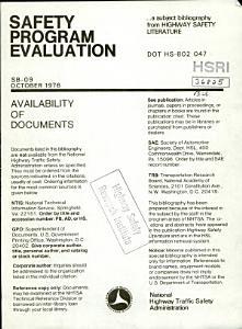 Safety Program Evaluation  a Bibliography