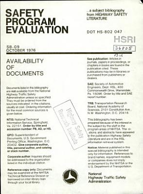 Safety Program Evaluation  a Bibliography PDF