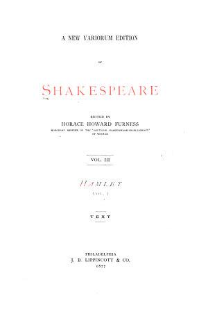 A New Variorum Edition of Shakespeare  Hamlet  5th ed  1877