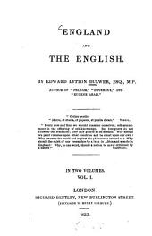 England and the English: Volume 1