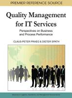 Quality Management for IT Services  Perspectives on Business and Process Performance PDF