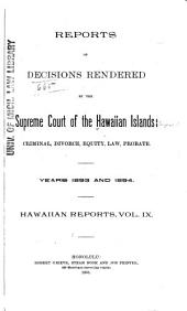 Hawaii Reports: Cases Determined in the Supreme Court of the State of Hawaii, Volume 9