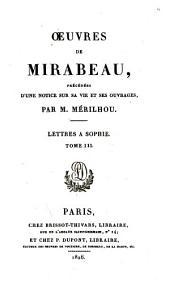 ŒUvres de Mirabeau: Lettres à Sophie