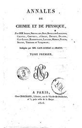 Annales de chimie et de physique: Volume1