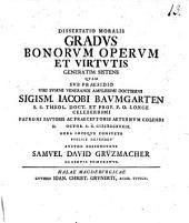 Dissertatio moralis gradus bonorum operum et virtutis generatim sistens