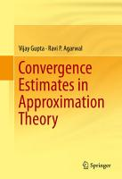 Convergence Estimates in Approximation Theory PDF