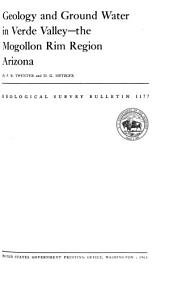 Geology and Ground Water in Verde Valley--the Mogollon Rim Region, Arizona