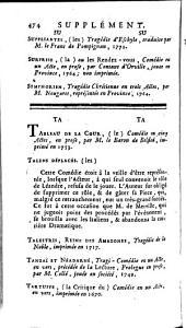 Anecdotes dramatiques; contenant 1° Toutes les piéces de théâtre... drames... qui ont été joués à Paris ou en province... 2° Tous les ouvrages dramatiques... qui sont imprimés, ou conservés en manuscrit... 3 ° Un recueil... d'anecdotes... 4° Les noms de tous les auteurs... de tous les acteurs ou actrices célébres... 5° Un tableau... des théâtres de toutes les nations. Tome premier [-troisième].