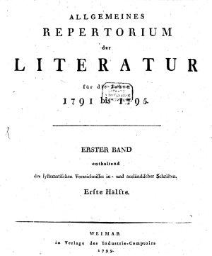 Allgemeines Repertorium der Literatur PDF