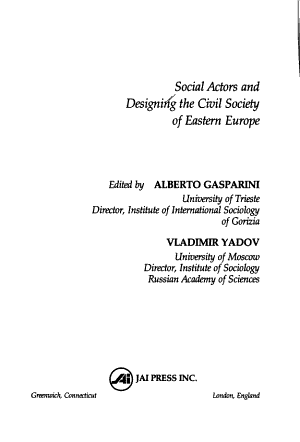 Social Actors And Designing The Civil Society Of Eastern Europe