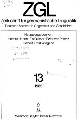 Zeitschrift f  r germanistische Linguistik