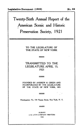 Annual Report of the American Scenic and Historic Preservation Society to the Legislature of the State of New York PDF