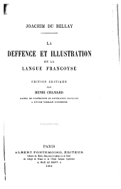 La deffence et illustration de la langue francoyse
