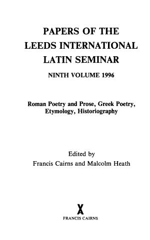 Papers of the Leeds International Latin Seminar