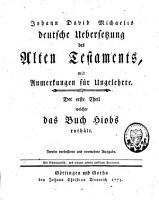 Johann David Michaelis deutsche   bersetzung des Alten Testaments PDF