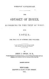 The Odyssey of Homer: According to the Text of Wolf ...