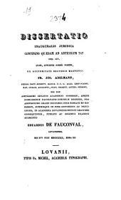 Dissertatio inauguralis juridica continens quaedam ad articulum 747 cod. civ