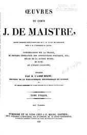 Œuvres du comte J. de Maistre