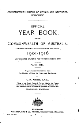 Official Year Book of the Commonwealth of Australia No  10   1917 PDF