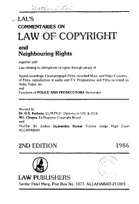 Lal s Commentaries on Law of Copyright and Neighbouring Rights PDF