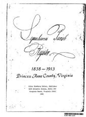 Lynnhaven Parish Register, 1838-1913