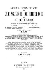 Archives internationales de laryngologie, otologie-rhinologie, broncho-oesophagoscopie: Volume4