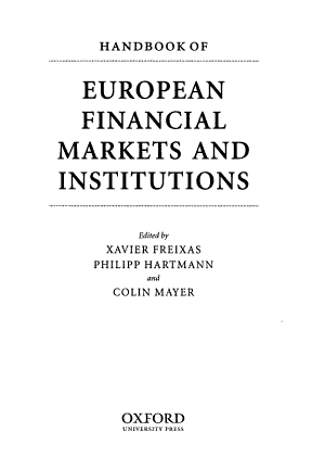 Handbook of European Financial Markets and Institutions PDF