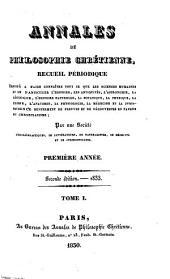 Annales de philosophie chrétienne: Volume1