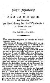 Jahresbericht über Stand und Wirksamkeit des Vereins zur Verbesserung des Volksschulwesens in Graubünden: Band 5