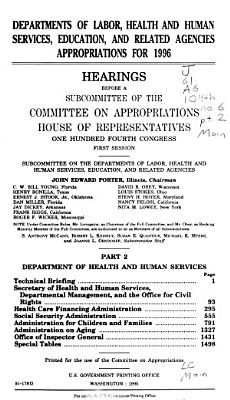 Departments of Labor  Health and Human Services  Education  and Related Agencies Appropriations for 1996  Department of Health and Human Services  technical briefing PDF