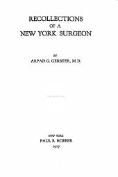 Recollections of a New York Surgeon