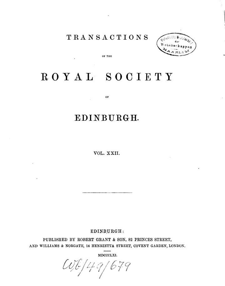 Transactions of the Royal Society of Edinburgh