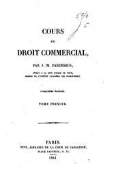 Cours de droit commercial: Volume1