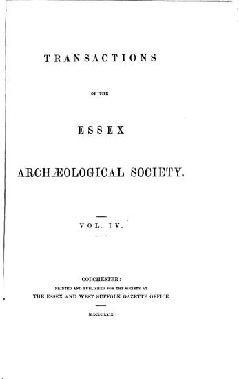 Essex Archaeology and History PDF