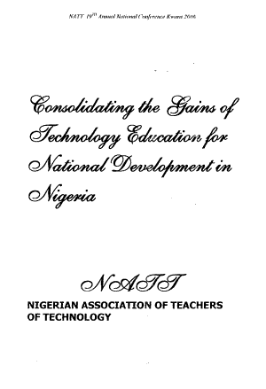 Consolidating the Gains of Technology Education for National Development in Nigeria PDF