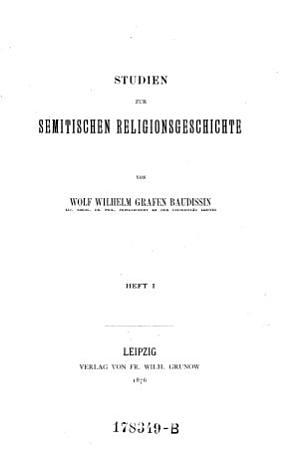 Studien zur Semitschen Religionsgeschichte PDF