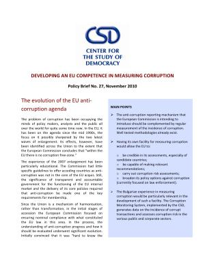 CSD Brief No 27  Developing an EU Competence in Measuring Corruption PDF