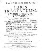 Juris tractatuum, sparsim hucusque editorum, nonnulli ... Ed. altera, aucta et emendata