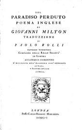 Del paradiso perduto. Poema inglese di Giovanni Milton. Traduzione di Paolo Rolli