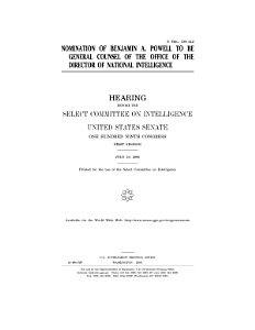 Nomination of Benjamin A  Powell to be general counsel of the Office of the Director of National Intelligence   hearing before the Select Committee on Intelligence  United States Senate  One Hundred Ninth Congress  first session  July 19  2005  Book